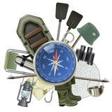 Wektorowy połowu sprzęt z kompasem ilustracja wektor