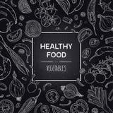 Wektorowy pociągany ręcznie sztandar z zdrowymi warzywami w chalkboard stylu Zdjęcia Royalty Free
