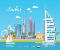 Wektorowy podróż plakat Zjednoczone Emiraty Arabskie Dubaj 1 lotu ptaka s UAE szablon z nowożytnymi budynkami i meczet w świetle  royalty ilustracja