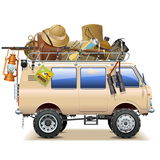 Wektorowy podróż samochód z safari akcesoriami royalty ilustracja