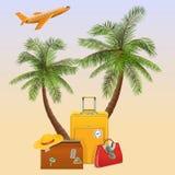Wektorowy podróży pojęcie z palmą royalty ilustracja