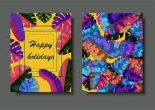 Wektorowy podwójny pocztówkowy szablon z neonowymi palma liśćmi i tropikalnymi roślinami royalty ilustracja