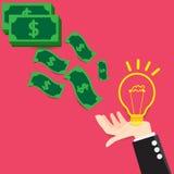 Wektorowy pojęcie żarówki światła pomysłu wymiany pieniądze ilustracji