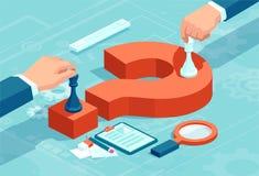 Wektorowy pojęcie biznesmeni rusza się szachowych kawałki na czerwonym znak zapytania ilustracja wektor