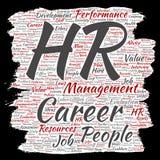 Wektorowy pojęcie hr lub słowa konceptualna dział zasobów ludzkich kariery zarządzania papieru lub muśnięcia chmura odizolowywał  Obrazy Stock