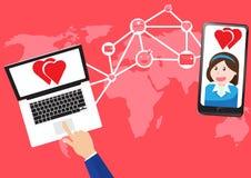 Wektorowy pojęcie Komunikuje o miłości w światowej mapie ilustracji