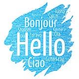 Wektorowy pojęcie, konceptualny muśnięcie, farba lub powitanie turystyki słowa międzynarodowa chmura w cześć różnych językach lub Zdjęcia Royalty Free