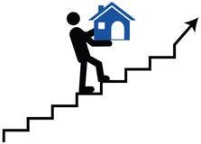 Wektorowy pojęcie mężczyzna lub opiekunu pięcie na schodkach z thei Obrazy Stock