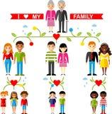 Wektorowy pojęcie międzynarodowy rodzinny drzewo Zdjęcie Royalty Free