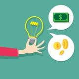 Wektorowy pojęcie pomysłu znaka żarówki światła zmiany pieniądze Zdjęcia Royalty Free