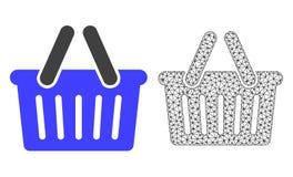 Wektorowy Poligonalny siatka zakupy kosz i mieszkanie ikona ilustracja wektor