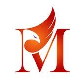 Wektorowy Pomarańczowy jastrzębia inicjału M logo fotografia stock