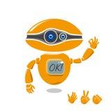 Wektorowy pomarańczowy robot pokazuje OK znaka Zdjęcie Stock