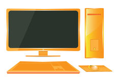 wektorowy Pomarańczowy komputer. Obrazy Stock