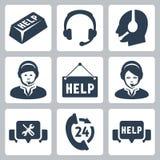 Wektorowy poparcie, centrum telefoniczne ikony Obraz Stock