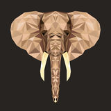 Wektorowy portret poligonalny słoń Trójbok ilustracja zwierzę dla use jako druk na koszulce i plakacie Geometryczny niski polityk Zdjęcia Royalty Free