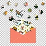 Wektorowy posiłek stacza się suszi ustawiającego w papierowej poczta kopercie Zdjęcie Royalty Free