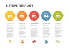 Wektorowy postępu pięć kroków szablon Zdjęcie Royalty Free