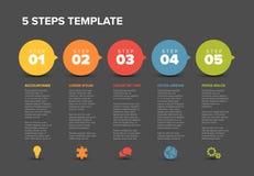 Wektorowy postępu pięć kroków szablon Obrazy Royalty Free