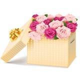 Wektorowy prezenta pudełko z kwiatami ilustracji