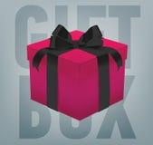 Wektorowy prezenta pudełko z tasiemkowym łękiem Obrazy Royalty Free