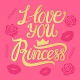 Wektorowy Princess, kocham ciebie wpisowy złoto znak na różowym tle Zdjęcie Royalty Free