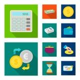 Wektorowy projekt banka i pieniądze znak Set banka i rachunku akcyjny symbol dla sieci ilustracji