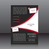 Wektorowy projekt czarna ulotka z czerwonymi elementami i miejscami dla wizerunków Obraz Royalty Free