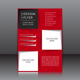 Wektorowy projekt czerwona ulotka z czarnymi miejscami dla wizerunków i elementami Obrazy Stock