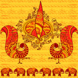 Wektorowy projekt Diwali diya z pawiem Obraz Royalty Free