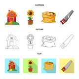 Wektorowy projekt gospodarstwa rolnego i rolnictwa logo Kolekcja gospodarstwa rolnego i rośliny wektorowa ikona dla zapasu ilustracji