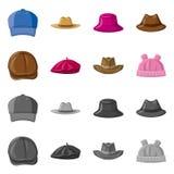 Wektorowy projekt headwear i nakrętki ikona Set headwear i akcesorium akcyjna wektorowa ilustracja royalty ilustracja