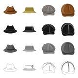 Wektorowy projekt headwear i nakrętki logo Set headwear i akcesorium akcyjna wektorowa ilustracja ilustracja wektor