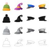 Wektorowy projekt headwear i nakrętki symbol Set headwear i akcesorium akcyjna wektorowa ilustracja royalty ilustracja
