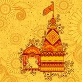 Wektorowy projekt hinduska świątynia Szczęśliwy Dussehra Zdjęcia Royalty Free