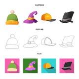 Wektorowy projekt kłobuku i nakrętki znak Kolekcja kłobuku i akcesorium akcyjna wektorowa ilustracja ilustracja wektor