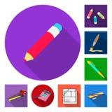 Wektorowy projekt ołówek i ostrzy symbol Set ołówek i koloru akcyjny symbol dla sieci royalty ilustracja