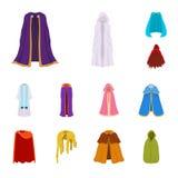 Wektorowy projekt peleryna i odzie?owy logo Set peleryny i szaty akcyjna wektorowa ilustracja royalty ilustracja