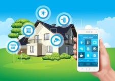 Wektorowy projekt przedstawia nowożytnego mądrze dom kontrolującego mobilnym zastosowaniem na smartphone ilustracji