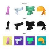 Wektorowy projekt szalika i chusty ikona Set szalika i akcesorium akcyjna wektorowa ilustracja ilustracji