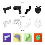 Wektorowy projekt szalika i chusty ikona Set szalika i akcesorium akcyjna wektorowa ilustracja royalty ilustracja