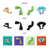 Wektorowy projekt szalika i chusty logo Set szalika i akcesorium akcyjna wektorowa ilustracja royalty ilustracja