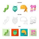 Wektorowy projekt szalika i chusty symbol Kolekcja szalika i akcesorium akcyjna wektorowa ilustracja royalty ilustracja