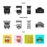 Wektorowy projekt targowa i zewnętrzna ikona Set rynku i zapasy żywności wektoru ilustracja ilustracji