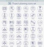 Wektorowy projekta planowania konturu ikony set Elegancki Cienki kreskowego stylu projekt royalty ilustracja