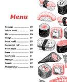 Wektorowy projekta suszi menu - wręcza patroszoną ilustrację Zdjęcia Stock
