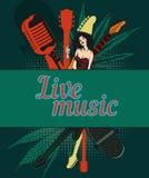 Wektorowy projekta szablon, muzyczny temat Gitara i retro mikrofon Fotografia Stock