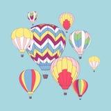 Wektorowy projekta szablon z gorące powietrze ballons royalty ilustracja