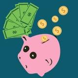 Wektorowy prosiątko banka pojęcie w mieszkanie stylu - pieniędzy savings Zdjęcia Royalty Free