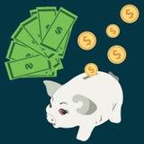 Wektorowy prosiątko banka pojęcie w mieszkanie stylu - pieniędzy savings Zdjęcia Stock